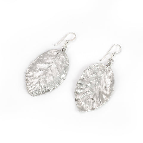 Silver Beech Leaf Earrings