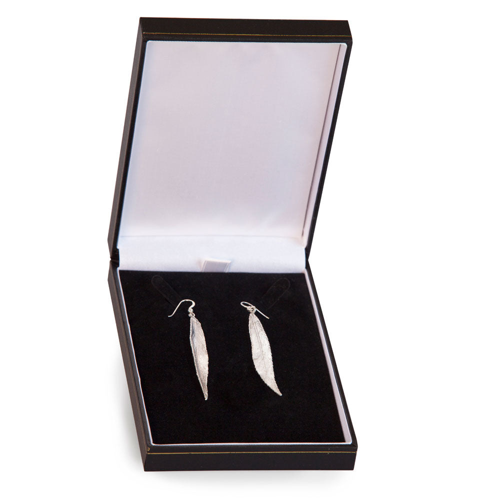 Willow Leaf Silver Earrings