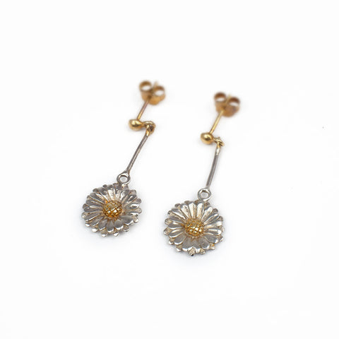 Silver Daisy Drop-down Earrings