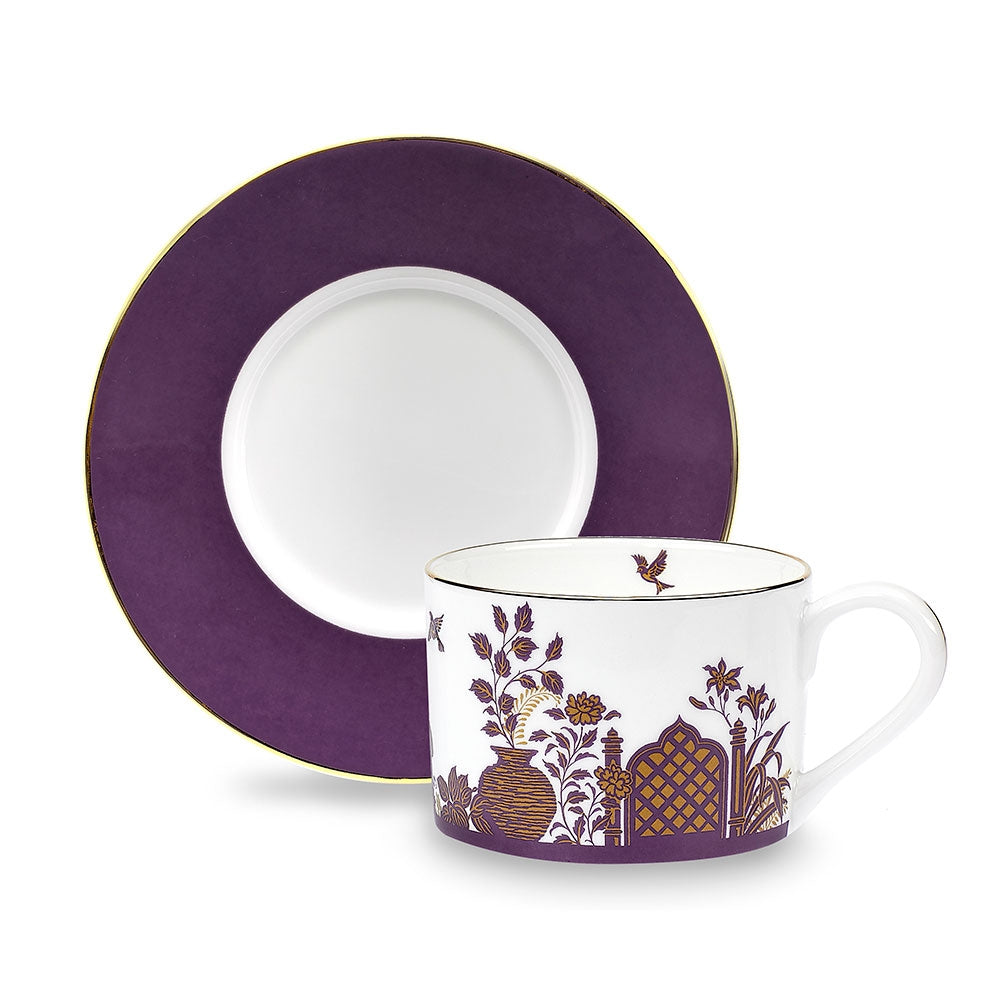 Royal Gardens Purple Teacup and Saucer