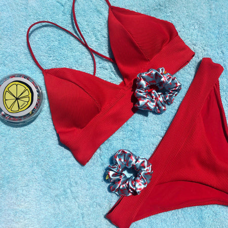 'LOBSTER PARTY' SATIN SCRUNCHIE