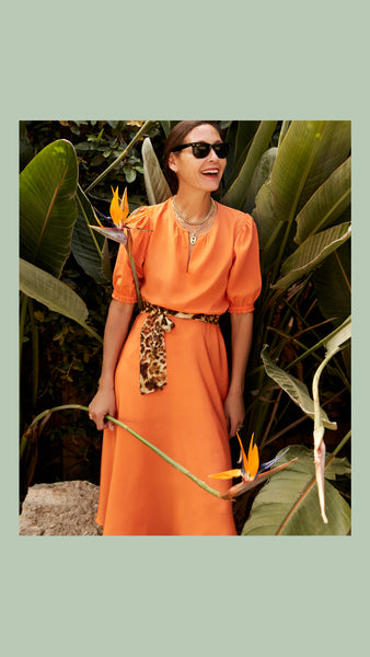 ARossGirl x OuiWant Ines Dress Silk Crepe Tangerine