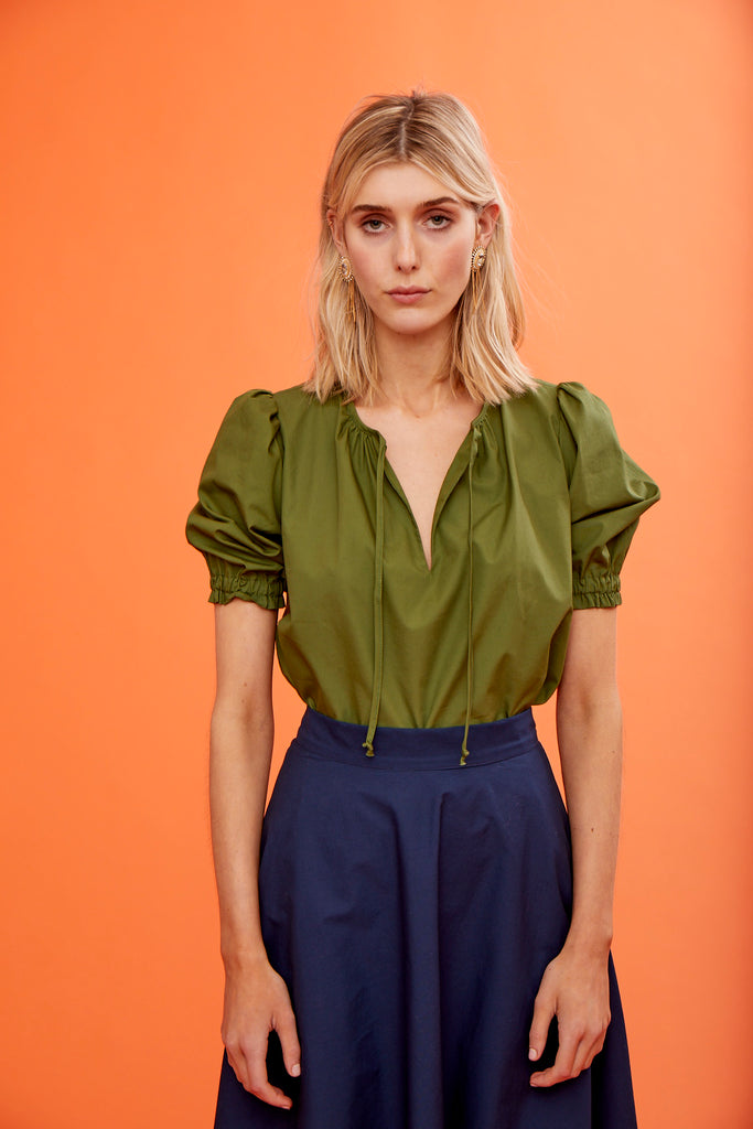 ARossGirl❤️Soler Ines Poplin Top in Army Green