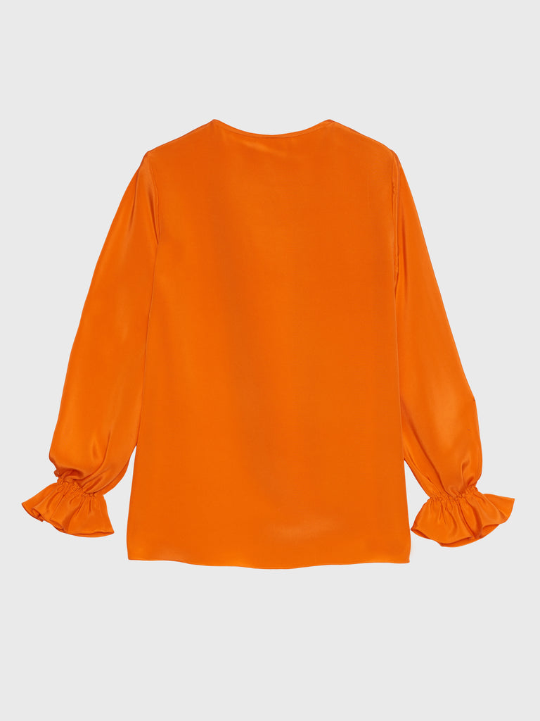 ARossGirl❤️Soler Amanda Top in Silk Double Crepe Bright Orange