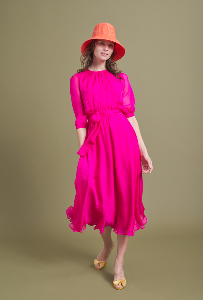 ARossGirl❤️Soler Amanda Dress in Silk Georgette Shocking Pink