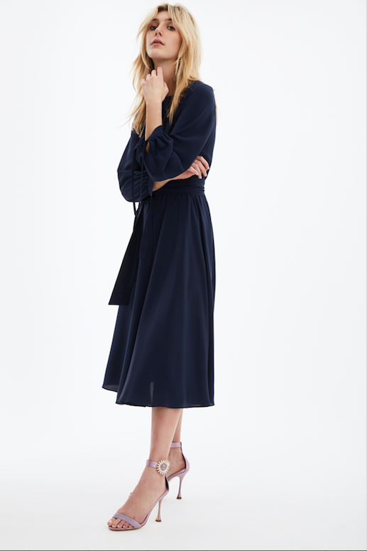 ARossGirl❤️Soler Amanda Dress Midi Silk Crepe Dress in Navy