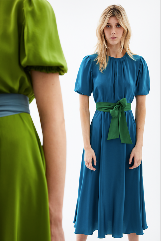 The Brooke Midi Dress in Teal w/ Emerald Belt