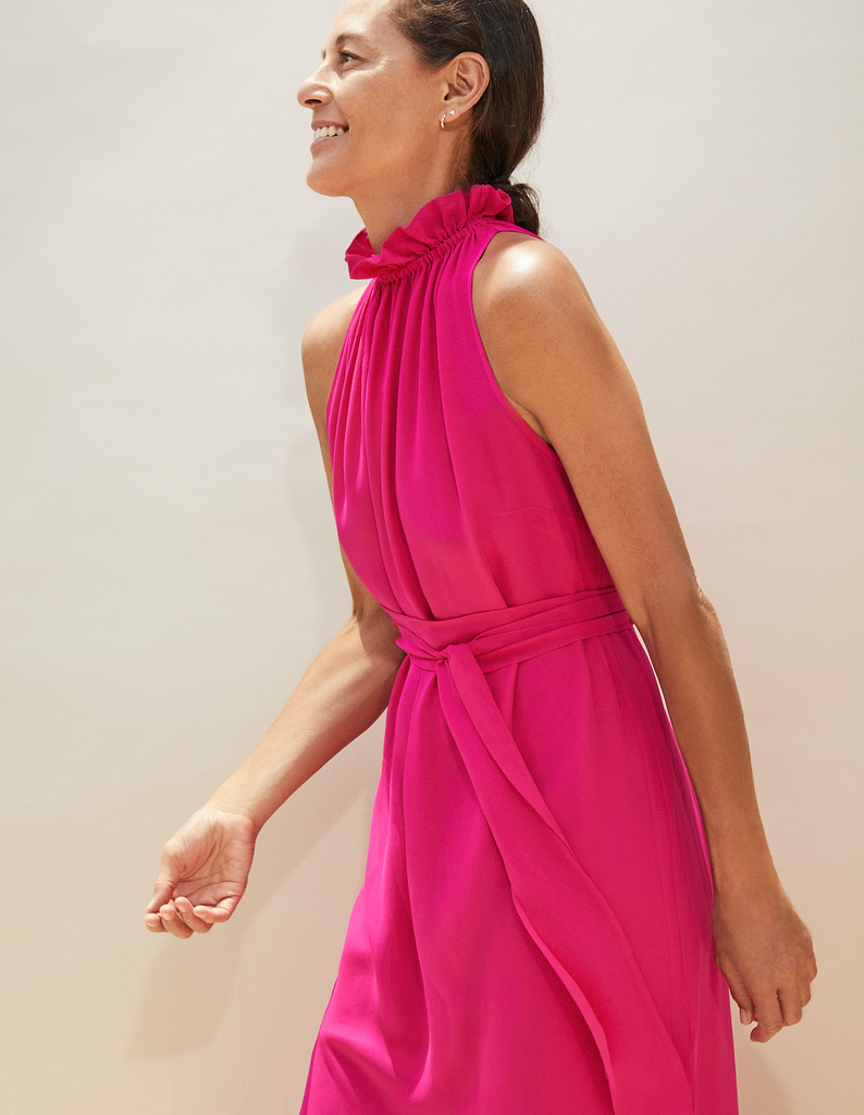 ARossGirl❤️Soler Gretchen Halter Silk Georgette Dress in Shocking Pink