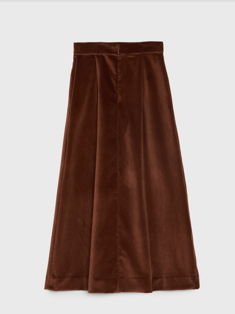 ARossGirl❤️Soler Alma Cotton Velvet Skirt in Brown