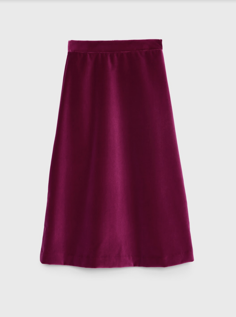 ARossGirl❤️Soler Alma Cotton Velvet Skirt in Magenta