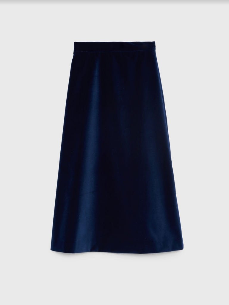 ARossGirl❤️Soler Alma Cotton Velvet Skirt in Navy