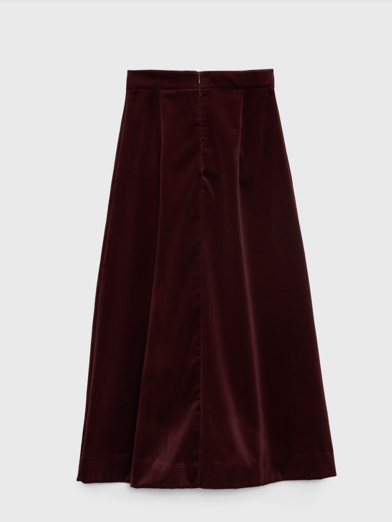 ARossGirl❤️Soler Alma Cotton Velvet Skirt in Plum
