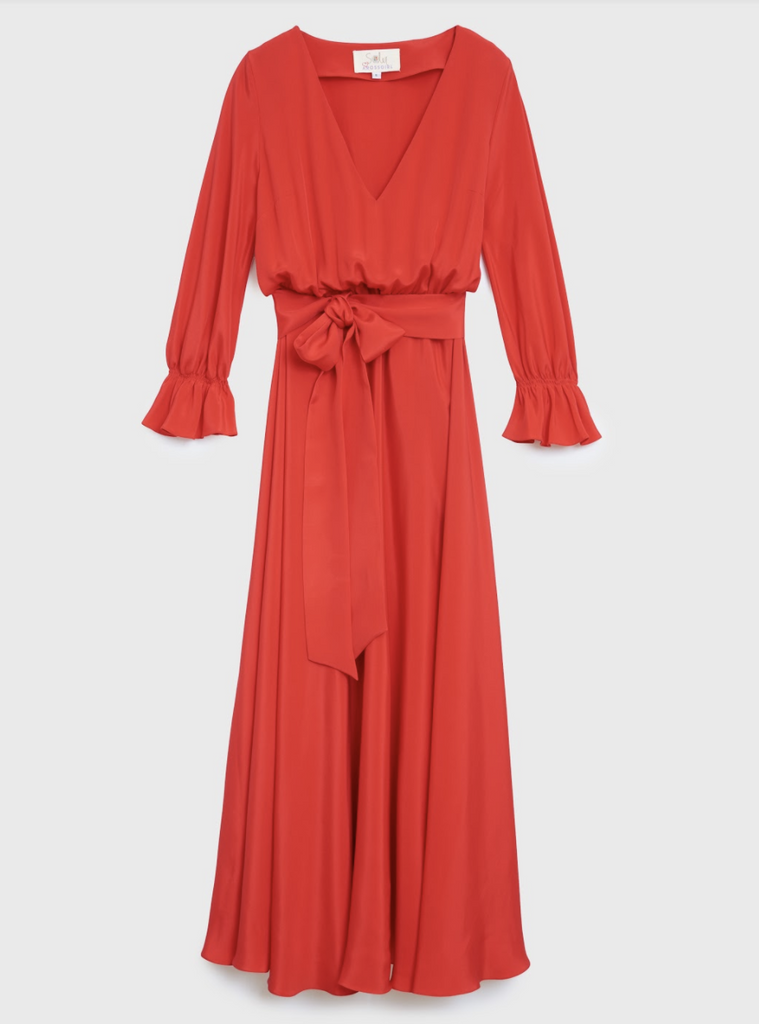 ARossGirl❤️Soler Amanda V Neck Dress Silk Double Crepe Red