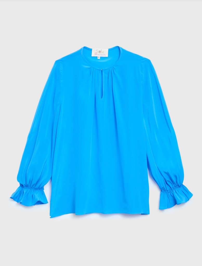 ARossGirl❤️Soler Amanda Top Silk Crepe in Cornflower Blue