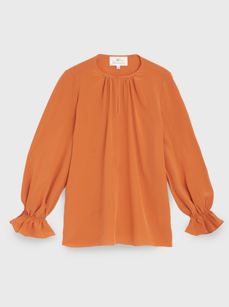 The Amanda Top in Silk Crepe Tangerine