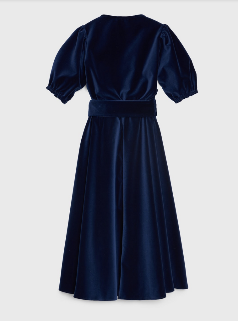 ARossGirl❤️Soler Ines Cotton Velvet Dress in Navy