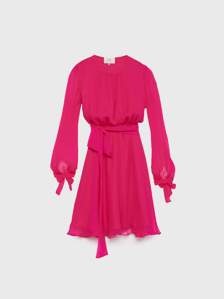 aRossGirl❤️Soler Amanda Dress Mini Length in Silk Georgette Fuchsia