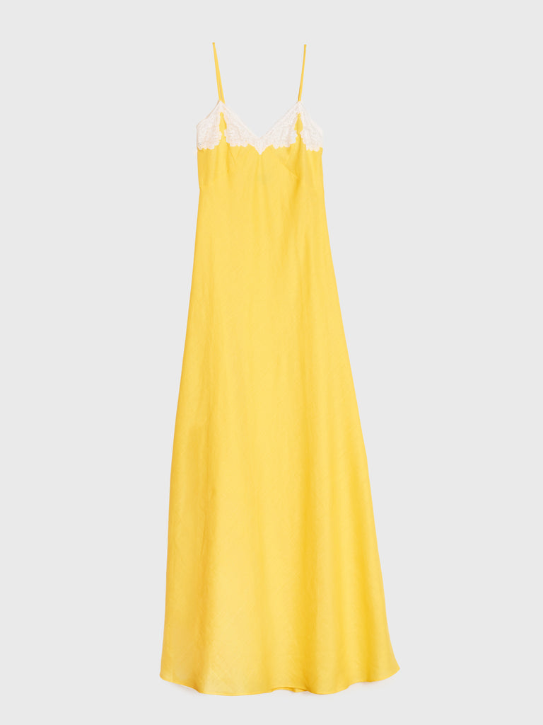 aRossGirl❤️Olatz Butter Yellow Linen Long Slip