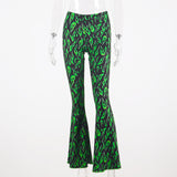 Green Fire Flare Pants