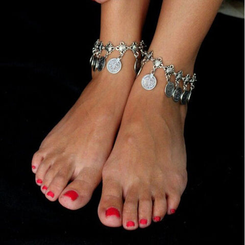 Tribal Ethnic Coin Tassel Gypsy Festival Turkish Beach Anklet Jewelry