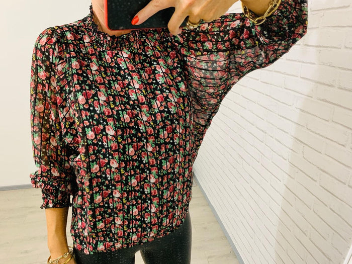 Emma Black Stripe Floral Long Sleeve Top