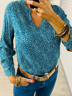 Susana long sleeve V neck blouse - Amber / Turquoise