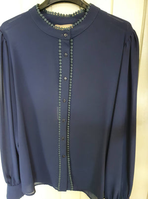 Fly Girl Blue high neck button down blouse