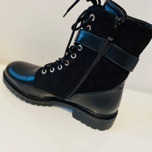 Biker Boots Black with strap & buckle