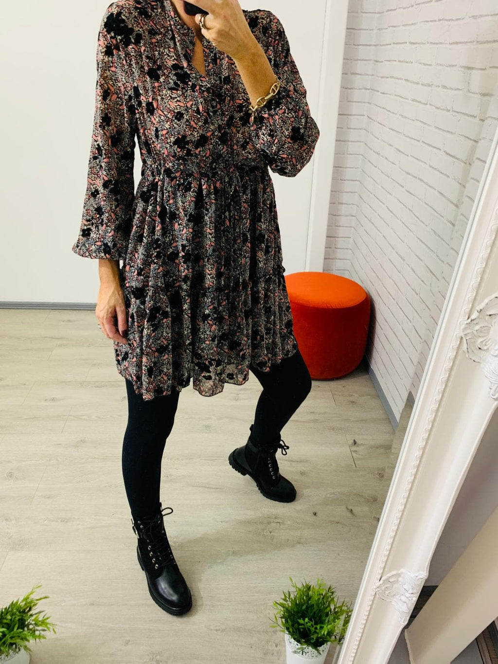 Jenny Short Multi Black Pink Long Sleeve Dress