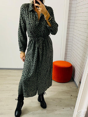 Rachel Green Leopard Print Long Shirt Dress
