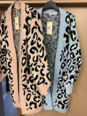 Lucy Leopard Print Long Cardigan Pink / Blue