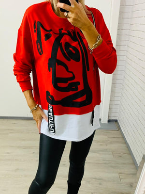 Maria Top Sweatshirt Red/  Black   One Size(10-16)