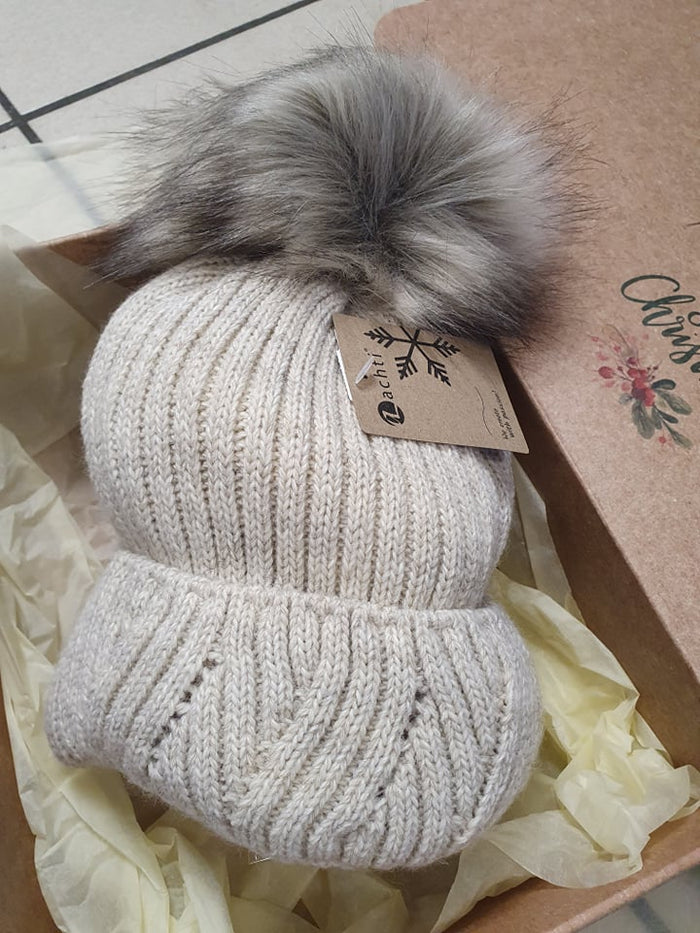Luxe Winter Bobble Hat - Cream