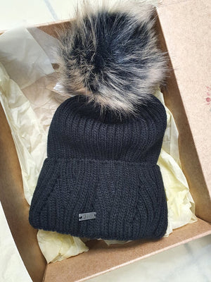 Luxe Winter Bobble Hat - Black