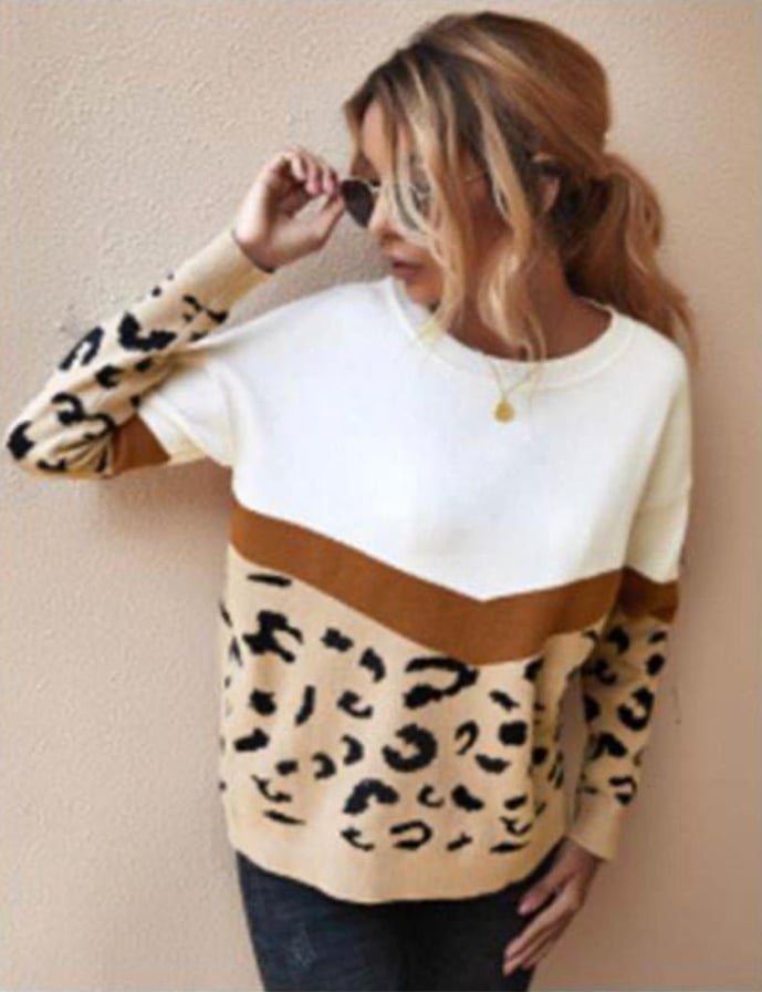 Emma Tan & Leopard Knit Jumper