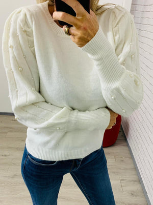 Pearl Off White Knit Sweater One Size(10/12)