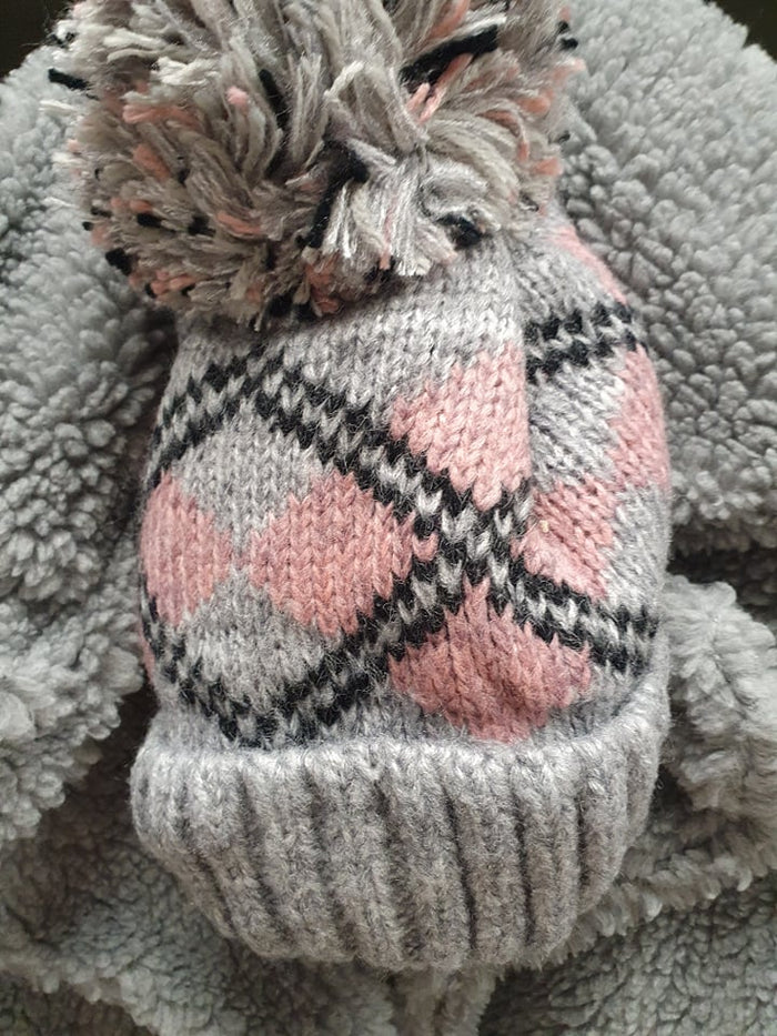 Tartan Grey & Pink Fleece Knit Hat