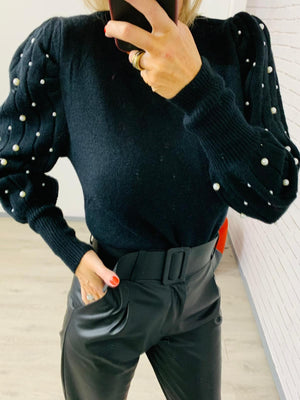 Pearl Black Knit Jumper One Size(10/14)