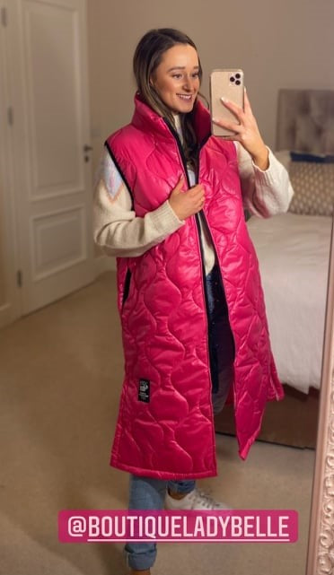 Zara Long Quilt Sleeveless Gilet/ Coat - Cerise pink / Baby Blue
