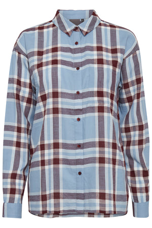 Ichi check Long sleeve button down shirt  Faded Denim