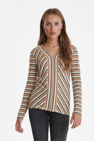Ichi Long Sleeved V neck Top Multi colour