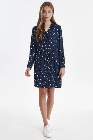 Navy Heart Shirtdress with Tie Belt