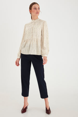 Ichi Tapoica/ Cream Long Sleeve Peplum Button Blouse