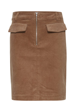 Ichi Brown Corduroy Short Skirt