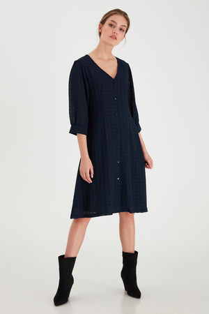 Ichi Total Eclipse (Navy) Pattern Dress