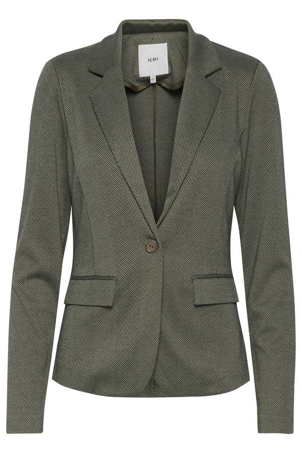Ichi Tailored lapel jacket Herringbone Green/Darkest Spruce