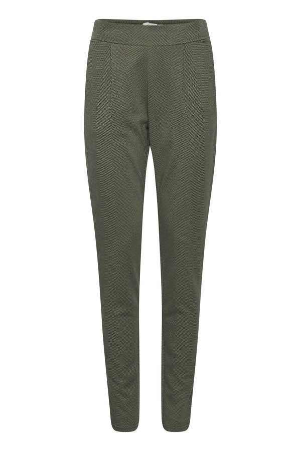Ichi Herringbone Trousers Pants Green/ Darkest Spruce