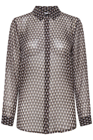 Ichi Sheer Blouse Check
