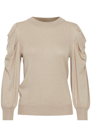 Fine Gold Knit Ichi Jumper with  Balloon Sleeves
