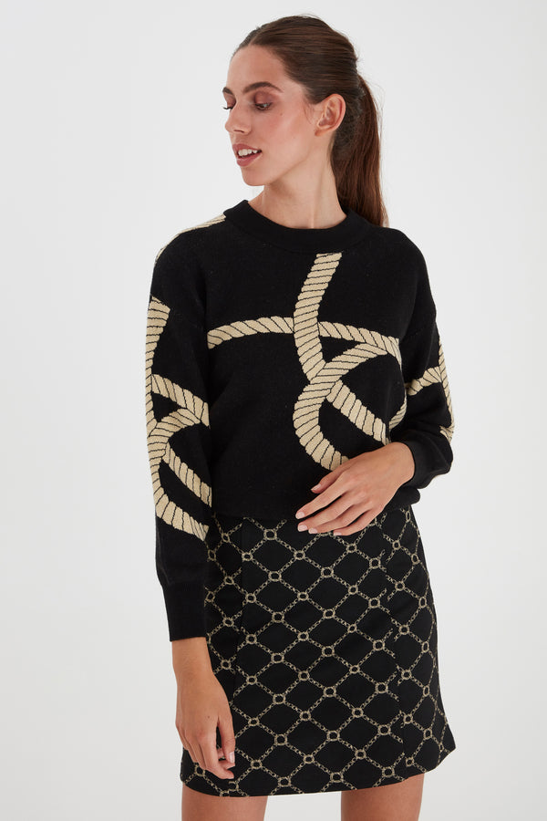 Ichi Black Gold Knot Design Jumper